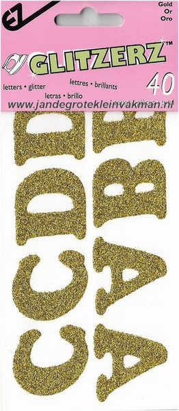 Applicatie alfabet, 40 letters 32mm hoog, goudkleurig