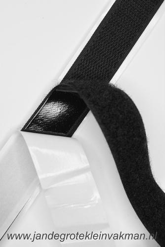 Zelfklevend klittenband YKK, 20mm breed, zwart, per meter