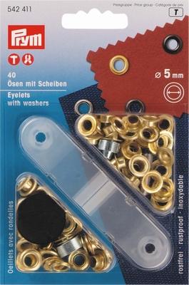 Prym zeilringen, goudkleurig, met tegenring, 40 stuks, 5mm