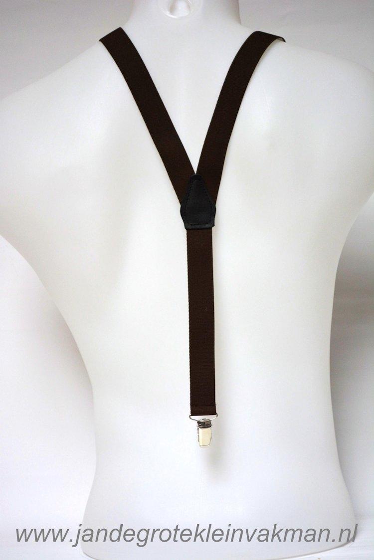Bretel 25mm breed, effen bruin