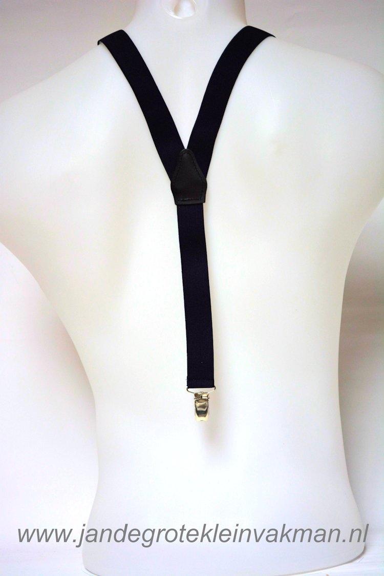 Bretel 25mm breed, effen zwart