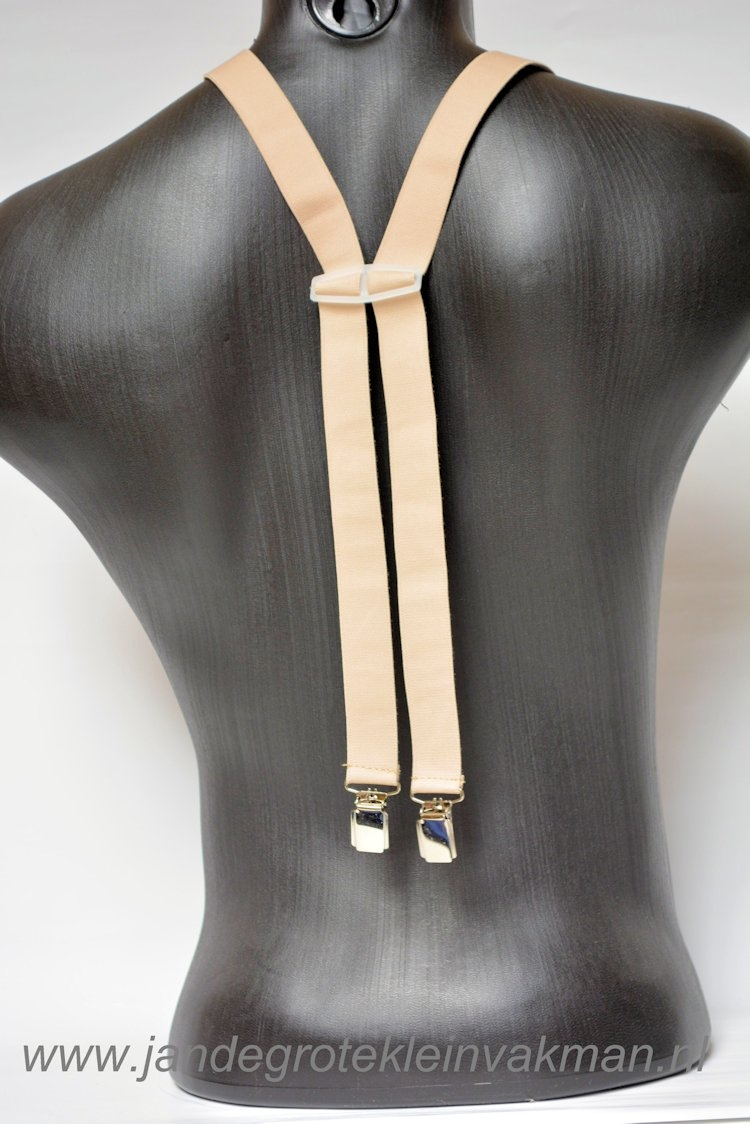 Bretel 25mm breed, volledig dubbele band, beige