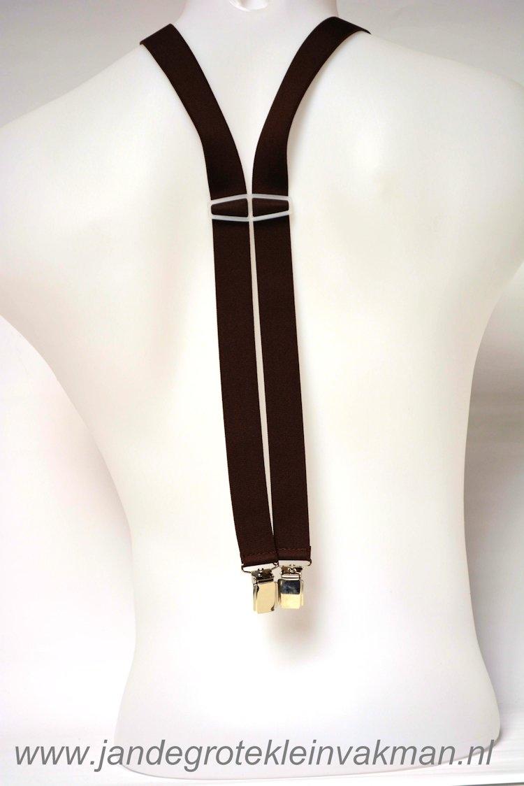 Bretel 25mm breed, volledig dubbele band, bruin