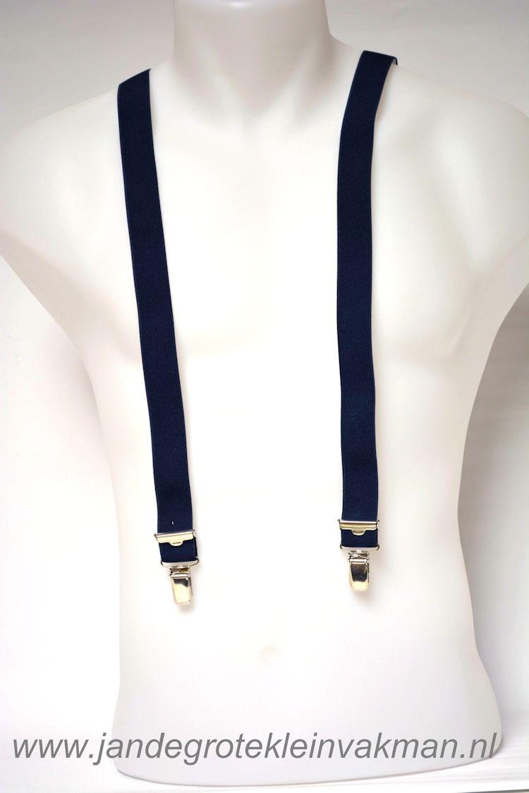 Bretel 25mm breed, volledig dubbele band, donkerblauw