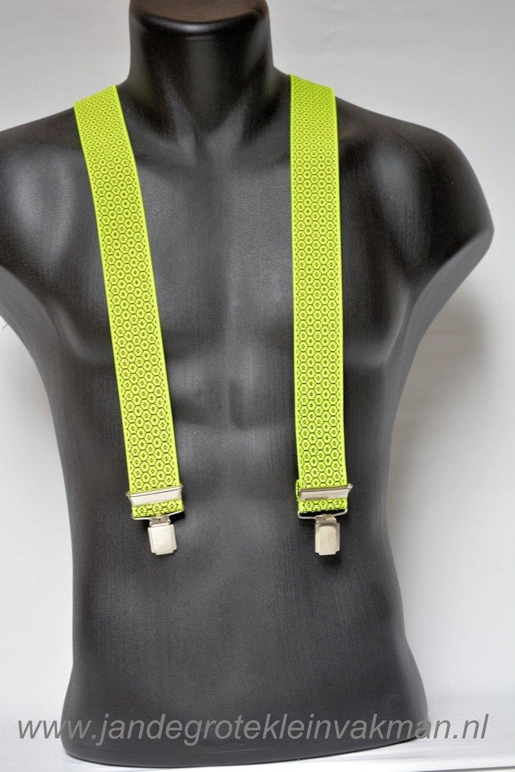 Bretel 35mm breed, fluor-geel met een stipje
