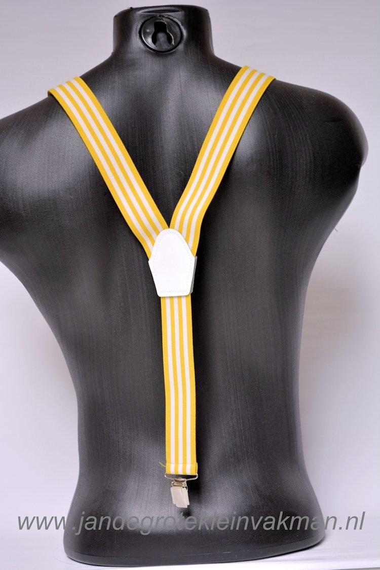 Bretel 35mm breed, geel wit gestreept
