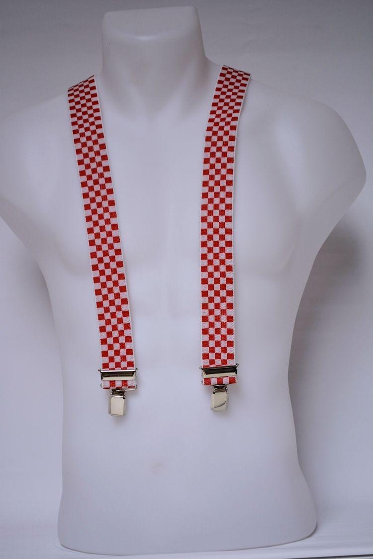 Bretel 35mm breed, rood wit geblokt