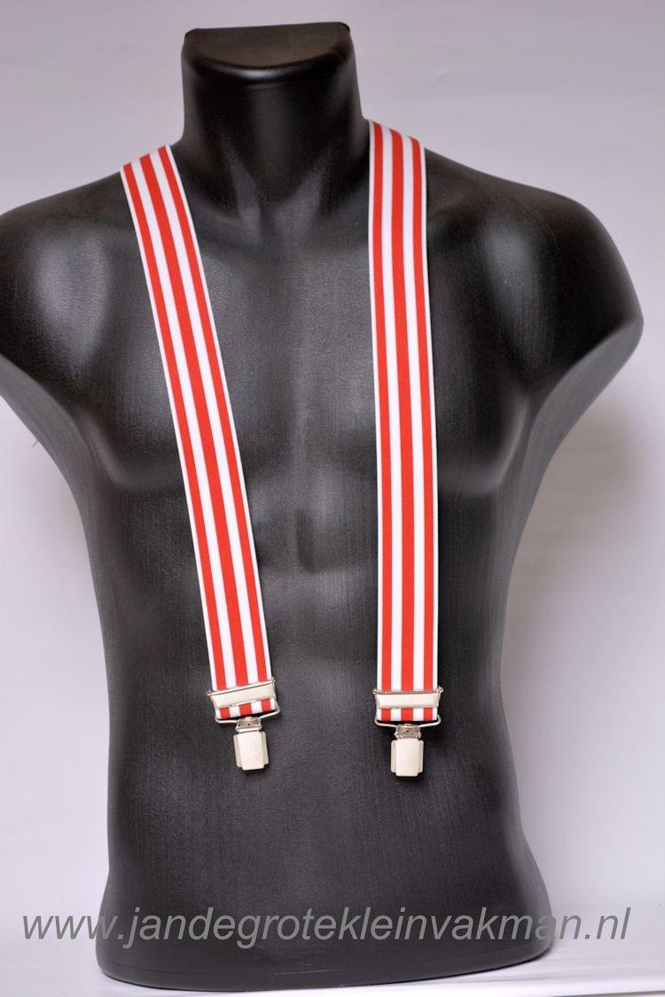 Bretel 35mm breed, rood wit getreept
