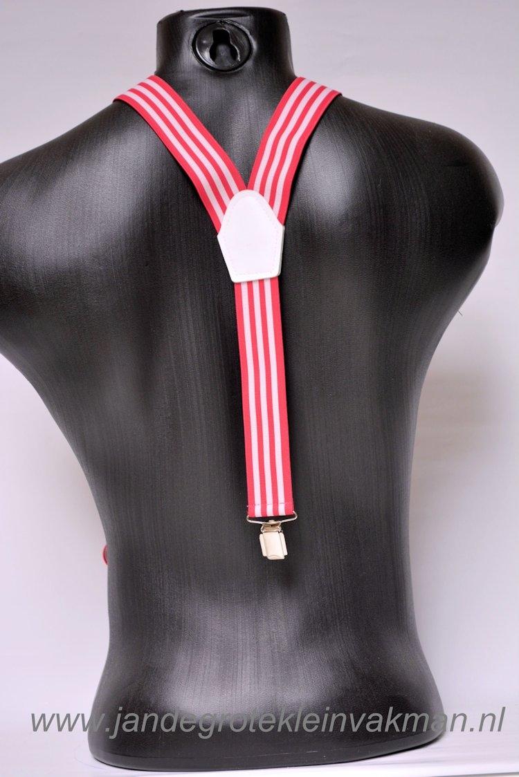 Bretel 35mm breed, roze wit gestreept