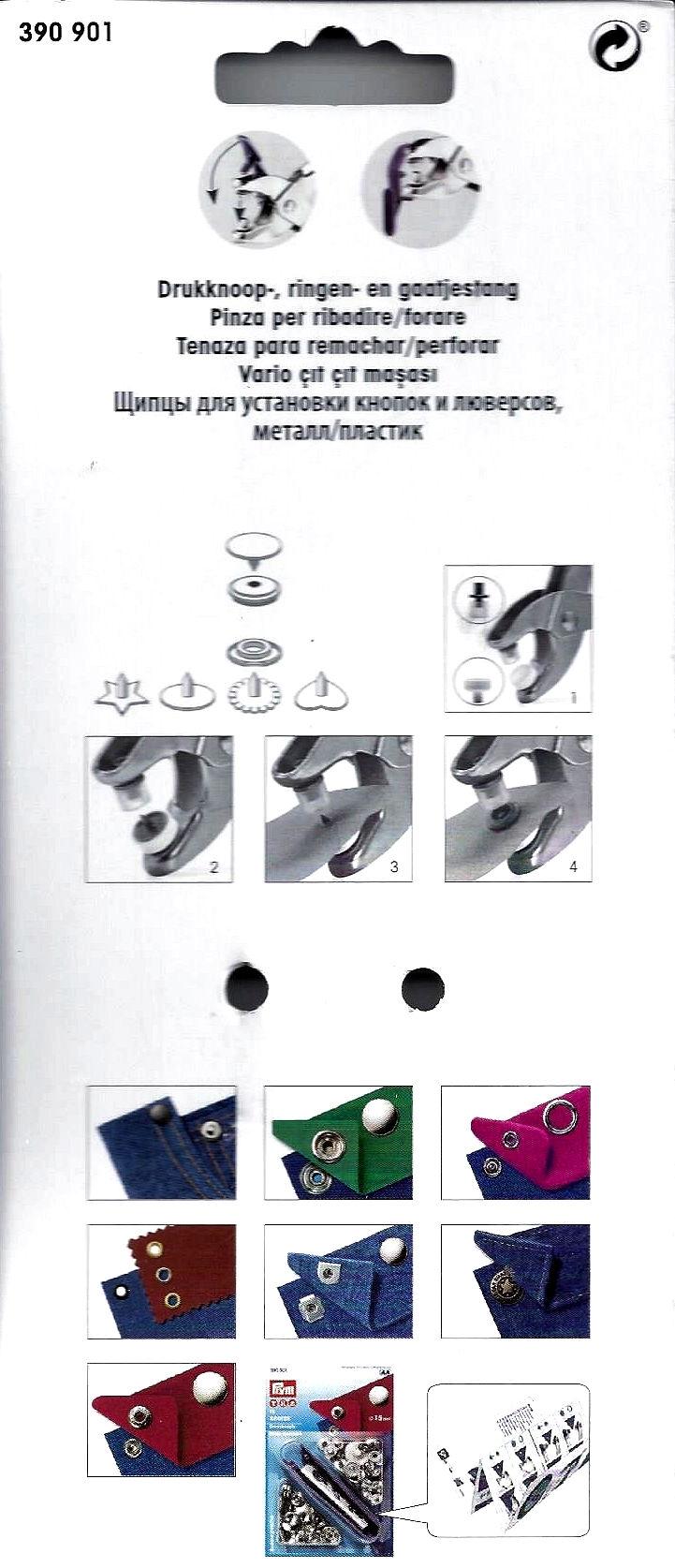 Prym combi verpakking, Variotang en hulpstukjes colorsnaps
