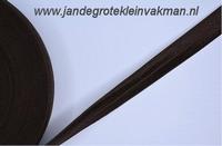 Vouwelastiek 20mm breed, per meter, donkerbruin