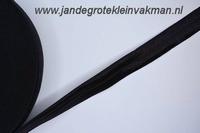 Vouwelastiek 20mm breed, per meter, zwart