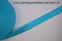 Vouwelastiek 20mm breed, per meter, turquoise