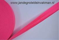 Vouwelastiek 20mm breed, per meter, fluor roze