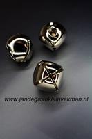 Zilverkleurige bel, vierkant, 24mm, prijs per stuk