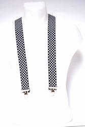 Bretel 35mm breed, zwart wit geblokt