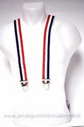 Bretel 35mm breed, rood wit blauw (Nederland òf Frankrijk)