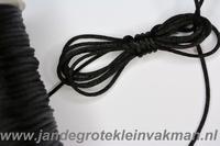 Satijnkoord, kleur 900, 2,5mm rond, per 3 meter, zwart