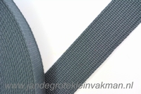 Tassenband, grijs, zware kwaliteit, 30mm breed, per meter