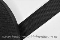 Tassenband, zwart, zware kwaliteit, 30mm breed, per meter