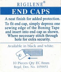 Balein eindkapjes 12mm, wit transparant, 10 stuks