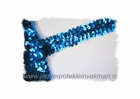 Band (pailletten) elastisch, ca. 30mm breed, blauw