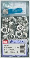 Prym zeilringen, zilverkleurig, 14mm, (grote verpakking)