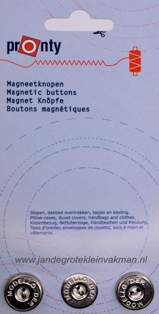 Pronty magnetische knopen, zilverkleur, Ø17mm, 3 stuks