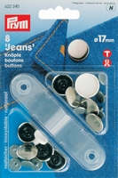 Prym Jeansknopen, 17mm, zilverkleurig, 8 stuks