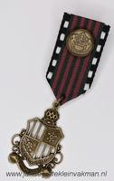 Fantasie medaille, zwartwit-groen-rood, ca. 80mm lang