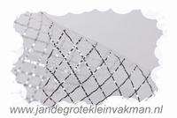 Crinolinestof, zilver, circa 80mm breed, per meter