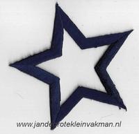 Applicatie ster, optrijkbaar en opnaaibaar, d-blauw, 75mm