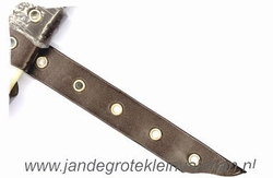 Gaatjesband, kunstleer, 20mm breed, donkerbruin