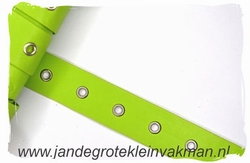 Gaatjesband, kunstleer, 20mm breed, appelgroen