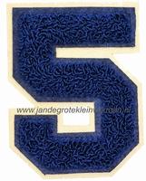 Baseball applicatie, cijfer 5, blauw