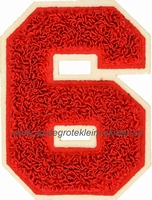 Baseball applicatie, cijfer 6, rood