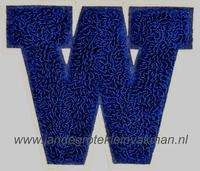 Baseball applicatie, letter W, blauw