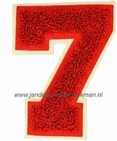 Baseball applicatie, cijfer 7, rood