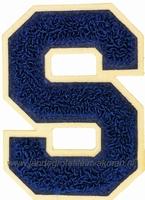 Baseball applicatie, letter S, blauw