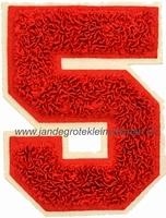 Baseball applicatie, cijfer 5, rood