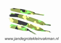 Veters, 112cm lang, 11mm breed, per 2 stuks, army