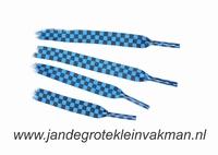 Veters, 112cm lang, 11mm breed, per 2 stuks, blauwzwart ruit