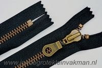 Niet deelbare rits, grof metaal, 15cm, kleur 580, zwart