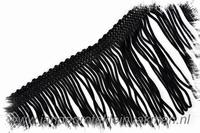 Franjeband (lusjes), 75mm hoog, per meter, zwart