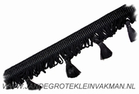 Kwastjes franjeband, zwart, per meter