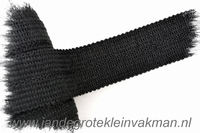 Tresband, 75% acril / 25% polyester, per meter, zwart