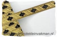 Zware kwaliteit afwerkband, zwart op goud, 15mm breed
