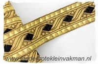 Zware kwaliteit afwerkband, zwart op goud, 30mm breed