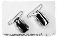 Bretel clip, 35mm breed, zilverkleurig, 2 stuks