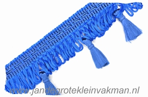 Kwastjes franjeband, kobaltblauw, per meter